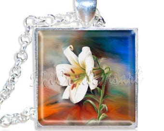 "20% OFF - Awakening Flower 1"" Square Glass Pendant or with Necklace - SQ208"