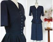 4th of July SALE - Vintage 1940s Dress -  Quintessential Navy Blue Rayon Crepe 40s Dress with Flirty Peplum and Button Front Bodice