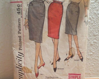 Simplicity Vintage 1960s Pencil Skirt Pattern 4529 / size waist 24 hip 33 / three lengths / pattern and instructions