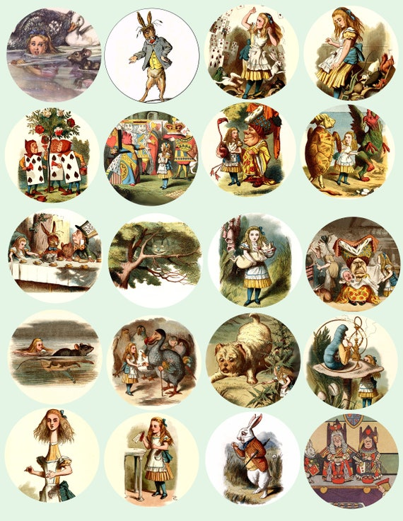 Alice In Wonderland Vintage art 2 INCH circles digital download collage sheet images graphic clipart scrapbooking crafts printables