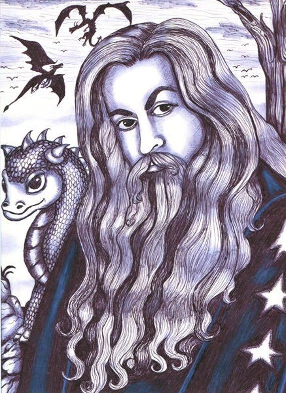wizard baby dragon original art print pen ink drawing illustration fantasy black & white artwork by Elizavella