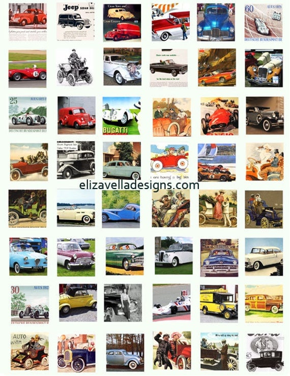 classic antique vintage cars clip art digital download collage sheet 1 inch squares graphics images printables