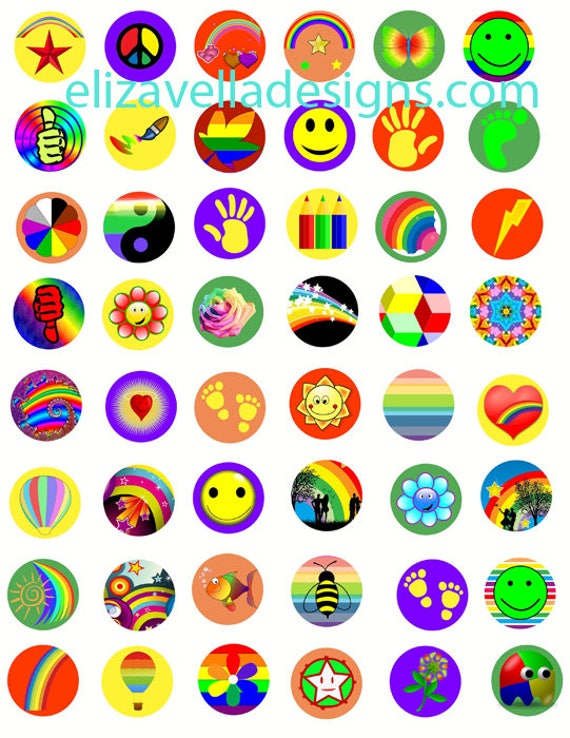 colorful rainbow hearts smiley faces hands 80s style COLLAGE sheet 1 INCH circles digital download graphics images for jewelry pendants pins