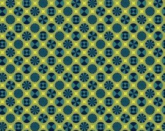 Tula Pink Prince Charming Taffy Indigo Fat Quarter (FQ), HTF OOP fabric, destash fabric, navy blue lime green geometrical print, new, washed