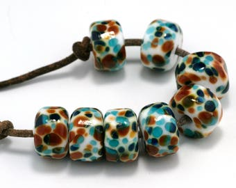 Party Drops Handmade Lampwork Beads by Pink Beach Studios 8 count (2304)