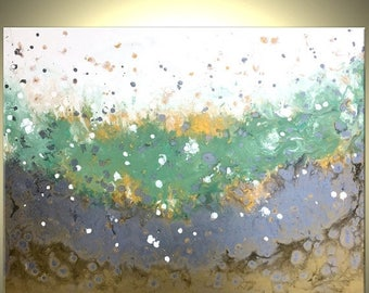 Original Green, Gold, Silver and White Painting, Textured Abstract Drip Technique Painting, Fine Art On Sale by Dan Lafferty - 30x40x1 1/2