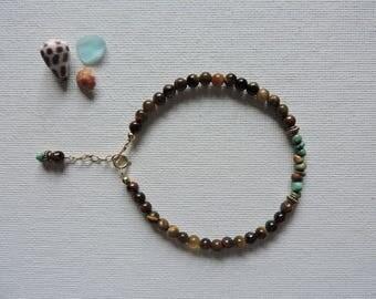 Tiger's eye & turquoise gemstone bracelet - summer stacking bracelet - layering bracelet - turquoise bracelet