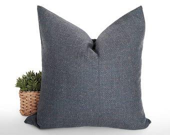 Blue Grey Pillow, Wool Textured Pillow, Flecks Pillow, Blue Rust Cream, Speckled Cushions, Zipper, Rustic, Winter Decor, 18x18, 20x20