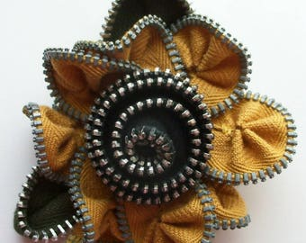 Gold and Black Floral Brooch / Zipper Pin by ZipPinning 3098