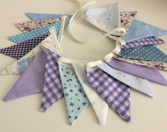 Purple and blue Bunting - Fabric Garland Banner, with pretty florals, 18 small flags, Photo Prop, Room Decoration