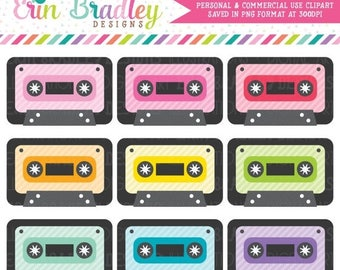 50% OFF SALE Cassette Tape Clipart Set 80's Music Clip Art Graphics Personal & Commercial Use