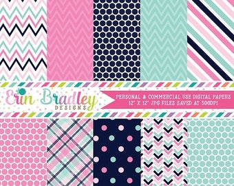 80% OFF SALE Pink and Blue Digital Paper Pack Commercial Use Instant Download