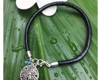 Leather Beach Charm & Crystal Bracelet