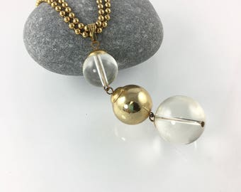 Gold Sphere Clear Lucite Necklace, Long Double Strand Ball Gold Chain, Statement Necklace, Costume Jewelry