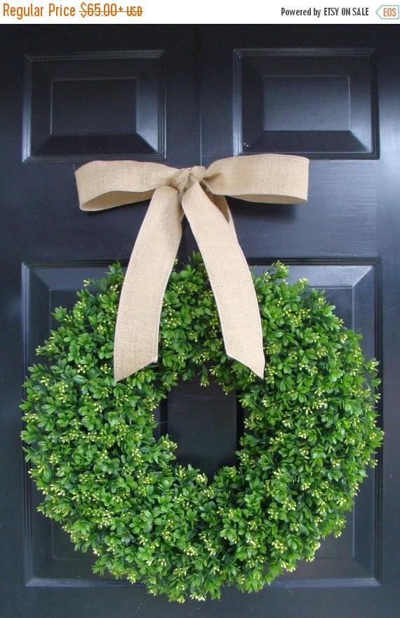 SUMMER WREATH SALE Spring Boxwood Wreath- Year Round Wreath Decor- Etsy Wreath- Artificial Boxwood Wreath- Burlap Ribbon- Christmas Wreath-