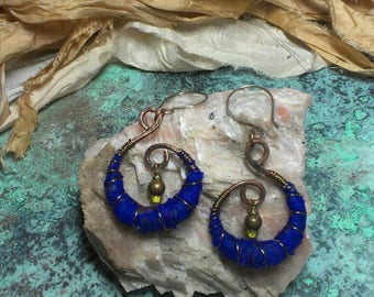 Recycled Sari Silk Wrapped Earrings