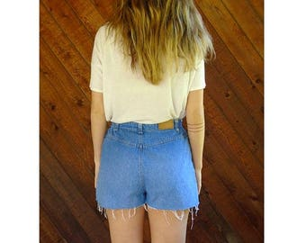 20% off SUMMER SALE. . . High Waist Cut Off Denim Shorts - Vintage 90s - S/M