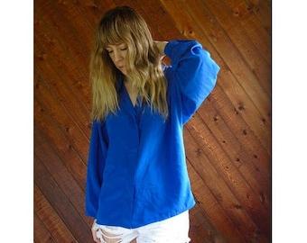 20% off SUMMER SALE. . . Cobalt Blue Silky l/s Button Blouse - Vintage 90s - M/L