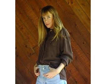 20% off SUMMER SALE. . . Chocolate Brown Silk Button Down Pocket Shirt - Vintage 90s - L/Xl