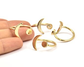 Universe Cosmos Ring - 2 Gold Plated Brass Moon And Planet Rings N127