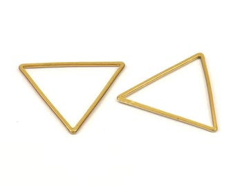Triangle Charm, 12 Gold Plated Brass Triangles (24x24x24mm) Bs-1125 Bs-1125 Q100