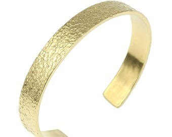 10mm Wide Texturized Nu Gold Cuff Bracelet - Gold Cuff Bracelet -Brass Cuff Bracelet - Hammered Gold Bracelet - Textured Gold Cuff Bracelet