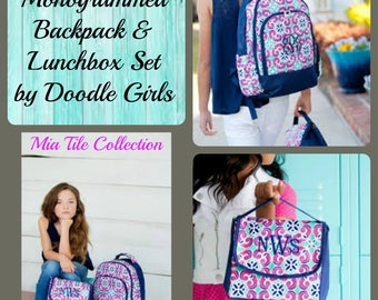 Girls Monogrammed Backpack and Lunchbox set.  Mia Tile Collection.  Girls Monogram backpack.  Girls Monogram lunchbox.