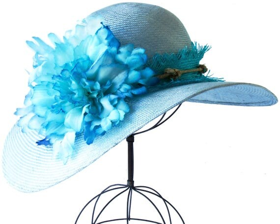 Kentucky Derby Hat Wide Brimmed Straw Hat Blue Straw Hat Turquoise Hat 1920s Hat Great Gatsby Hat Mother's Day Picture Hat Wedding Hat