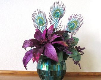 Peacock Purple Teal and Turquoise Two-Faced Christmas Holiday Centerpiece Floral Arrangement