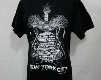 FLASH SALE New York City | Cool Vintage NYC Neighborhoods Souvenir Black Cotton T Shirt | Guitar with Wings | Rock N Roll 1990s | Sm Med