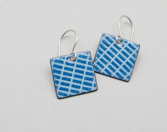 Blue Dangle Earrings - Blue Square Earrings - Enamel on Copper and Sterling Silver - Modern Jewelry - Gift for her