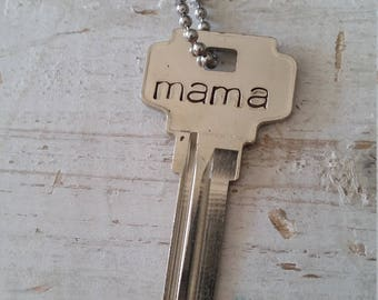 Hand Stamped Vintage Key Necklace Mama