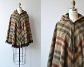 Back East wool cape | vintage plaid wool cape | wool cape with hood