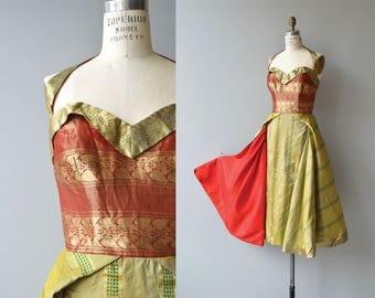St. Cyr dress | vintage 1950s dress | lame 50s halter dress