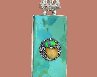 Sleeping Beauty Turquoise with Ethiopian Opal Chips in Matrix Inlay in Sterling Silver Tile Pendant