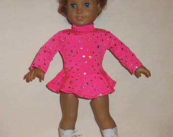 Ice Skating Outfit, Sparkling Pink, 18 Inch Doll,  American Made, Girl Doll Clothes, Scooped Back, Skater Dress, Dancewear
