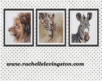 animal nursery art print boy nursery art Safari Nursery PRINT SET modern minimalist watercolor painting african boy girl zebra giraffe lion
