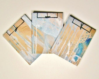 Trio of Mini Artist's Sketchbooks, Silver and Blue, Stab Bound with Up Cycled Materials and Hand Painted Covers