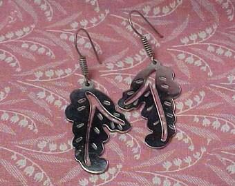 Vintage 925 Mexico Sterling Leaf Drop Pierced Earrings 12 grams