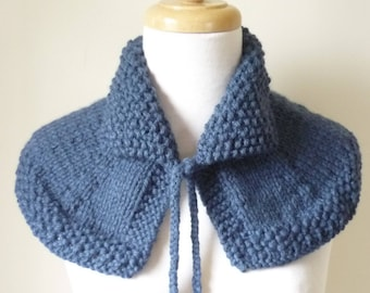 Knit Collar Cape Shoulder Wrap Mini Cape Highlands Capelet Shawlette In Denim Ready to Ship