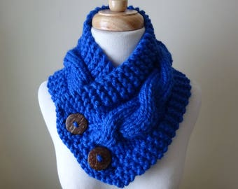 "Knit Neck Warmer, Cable Knit Scarf,  Chunky Warm Winter Scarf in Royal Blue 6"" x 25"" Coconut Shell Buttons Ready to Ship - Gift for Her"