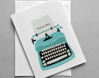 French birthday card, Bonne fête, Type writer, For her, For him