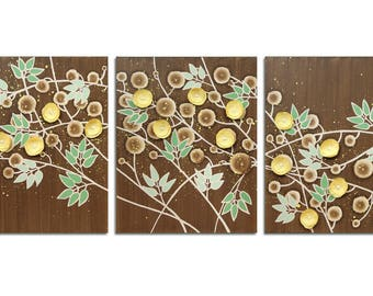 Flower Branch Painting on Three Canvases - Green, Yellow, Brown Home Decor Art - Large 50x20