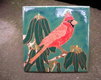 AVAILABLE NOW- Cardinal bird tile in the arts and crafts style with fine detail for the bird lover