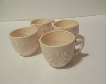 4 Jeannette Glass Shell Pink Milk Glass Feather Pattern Punch Cup Tea Cups Cameo Pink Milk Glass Mid Century 1950s 50 Wedding Decor