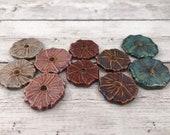 Ceramic Beads - One Pair - Hibiscus Flower Design - Earring Sized Pairs - Marsha Neal Studio - Handmade Beads