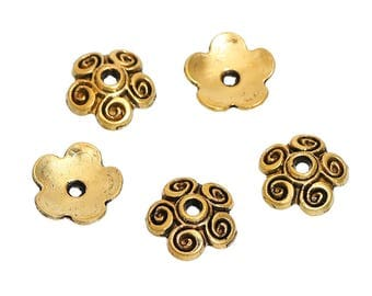 BULK - Bead Cap - Antiqued Gold - 100 pieces - #SBC138B