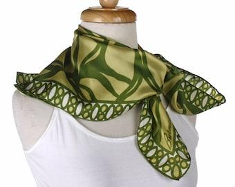Burmel Silk Vintage Fashion Scarf - Sunlight and Shades of Leaf Green - Square 22 x 22