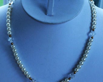 """On sale Handmade White Faux Pearl, Swarovski Crystal Necklace, Gold filled Beads, 16"""" (V1)"""