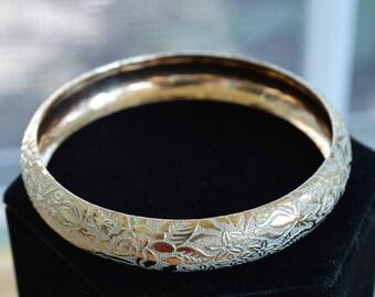 Gold Silver Floral Bangle Bracelet, Vintage